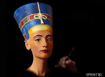 Покраска копии скульптуры Нефертити из ПММА