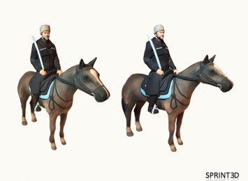 Казак со своим вороным конем и шашкой