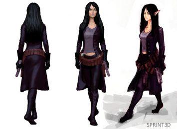 Эльфийка 3D модель по эскизу