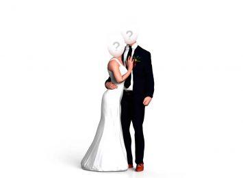 Свадебная пара обнимается