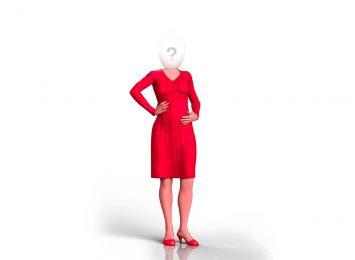 Девушка в красном с рукой на животе