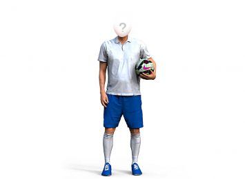 Футболист с мячем в руке