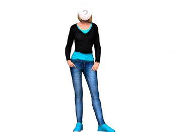 Синие джинсы, черная блузка
